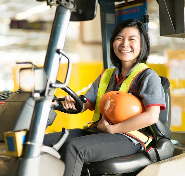 female forklift driver